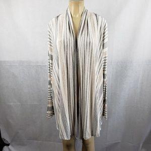Soft Surroundings Gray White Pale Striped Cardigan